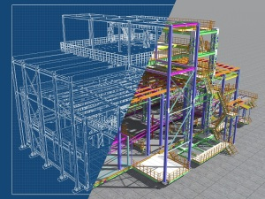3D Rendering Of A Model Of A Building Construction Structure Mad